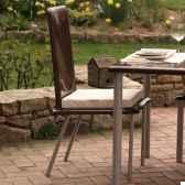 chaise haute design saint tropez marron coussin blanc pieds laques art mely am31