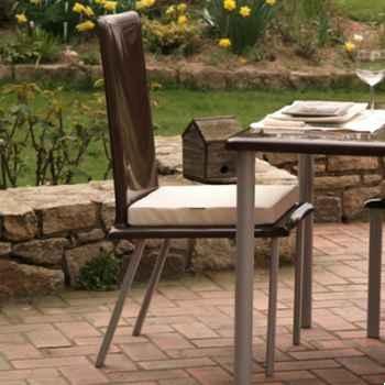 Chaise haute design Saint Tropez marron coussin blanc, pieds laqués Art Mely - AM31