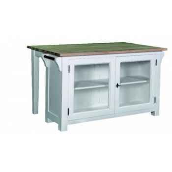 Plot central avec table + 2 portes vitrées plateau tôle zinguée Antic Line -CD537Z
