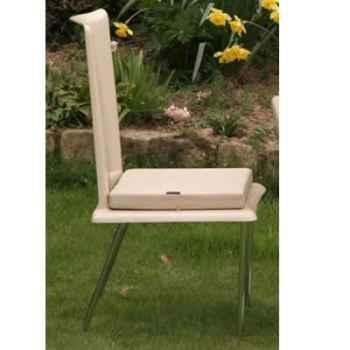 Chaise haute design Saint Tropez blanche coussin blanc, pieds chromés Art Mely - AM29