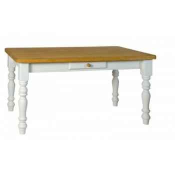 Table de ferme tiroir (bouton bois) 100 x 100 - Antic Line -CD440