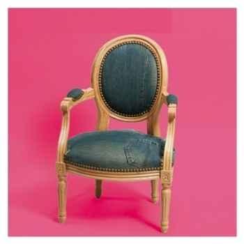Fauteuil Louis XVI médaillon en jean véritable Louis 21_001