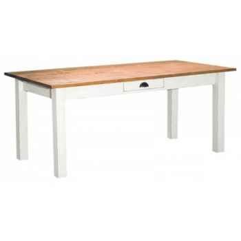 Table de ferme 1 tiroir (poignée coquille) rallonge en option voir référence cd299 Antic Line -CD298