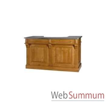 Bar gm 2 tiroirs avec plateau en tôle zinguée Antic Line -D121