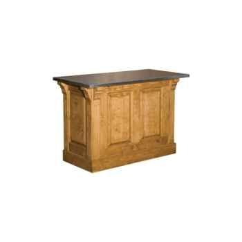 Comptoir de magasin pm 2 portes + 2 tiroirs (poignées coquilles) plateau tôle zinguée Antic Line -CD62