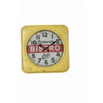 Pendule jaune bistro 35 x 35 cms Antic Line -SEB12378
