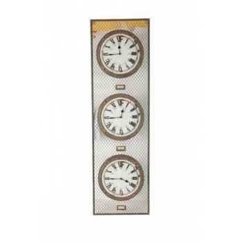 Pendule industrielle triple Antic Line -DEC8814