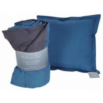Coussin déhoussable 45 x 45 cms anthracite - bleu Antic Line -SEB13916