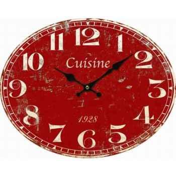 "Pendule rouge \""cuisine\"" Antic Line -SEB13704"