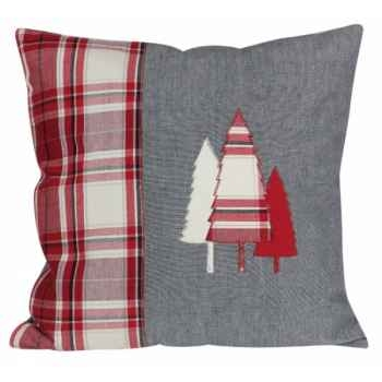 "Coussin 40 x 40 ""collection sapin - bordeaux\"" Antic Line -SEB12587"