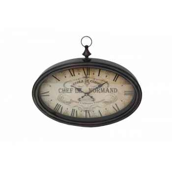 "Pendule ovale \""chef le normand\"" 50 x 33 cms Antic Line -SEB10210"