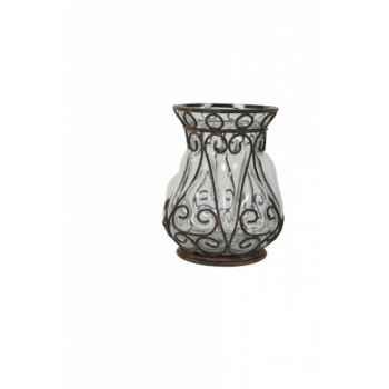Vase fer et verre pm 18.5 x12.5 cms Antic Line -DEC9236