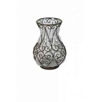 Vase fer et verre gm 27 x 13.5 cms Antic Line -DEC9235