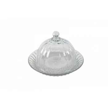 Cloche en verre avec plateau Antic Line -DEC9147