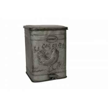 Poubelle zinc décor coq Antic Line -SEB12791