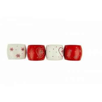 Lot de 12 ronds de serviettes blancs et rouges - flocons Antic Line -DEC9699