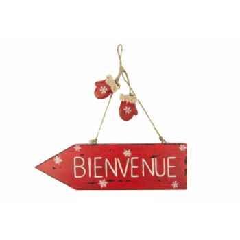 Panneau bienvenue rouge 30x33 cms Antic Line -SEB10054