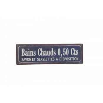 """Plaque \""""bains chauds 0.50 cts\"""" bleue Antic Line -SEB12392"""