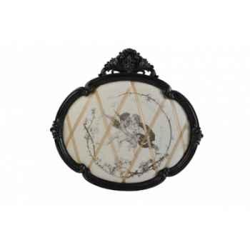 Tableau ovale noir décor anges Antic Line -DEC9371