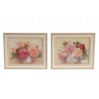 Set 2 tableaux fleurs roses-pivoines dans pot Antic Line -DEC8070