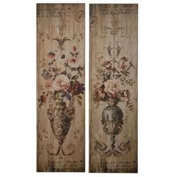 Set 2 tableaux vase fleurs Antic Line -DEC8625