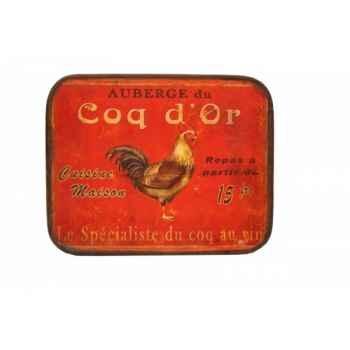 """Plaque \""""auberge du coq d\'or\"""" Antic Line -SEB10521"""