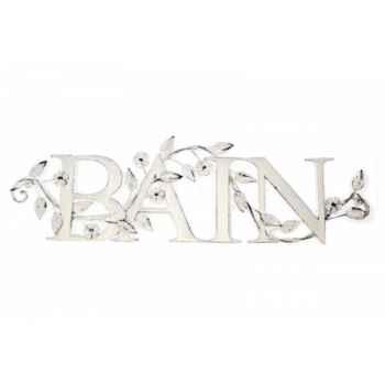 Mot bain décor feuillage blanc Antic Line -SEB10559