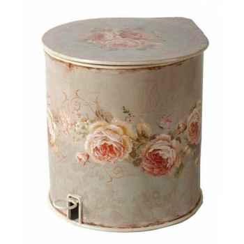 """Poubelle décor \""""roses\"""" Antic Line -DEC5164"""