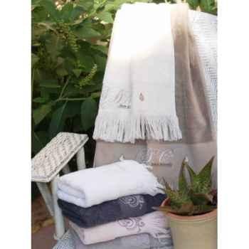"""Drap de bain \""""romantique\"""" neige 100 x 140 Antic Line -SEB10238"""
