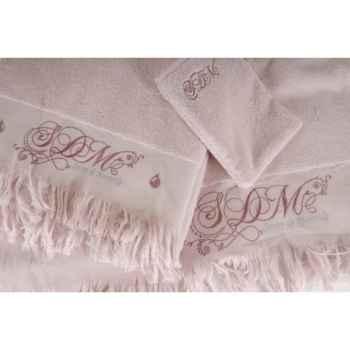 """Serviette \""""romantique\"""" pétale de rose 50 x 90 Antic Line -DEC8112"""