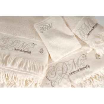 """Drap de bain \""""romantique\"""" ivoire 100 x 140 Antic Line -DEC8100"""
