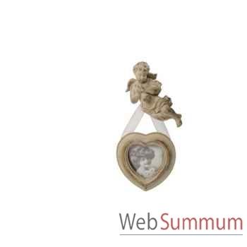 Cadre photo coeur à suspendre décor ange Antic Line -DEC9365