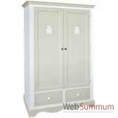 armoire 2 portes 2 tiroirs decor ourson boutons bois antic line cd429