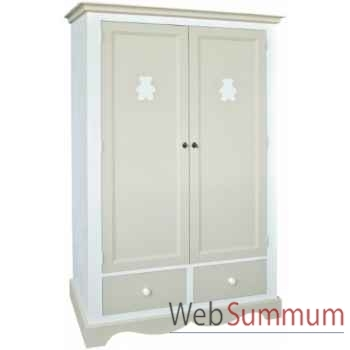 """Armoire 2 portes + 2 tiroirs \""""décor ourson\"""" (boutons bois) Antic Line -CD429"""