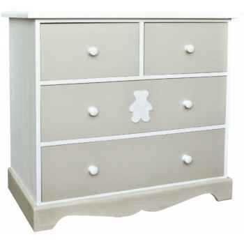 "Commode 4 tiroirs ""décor ourson\"" (boutons bois) Antic Line -CD430"