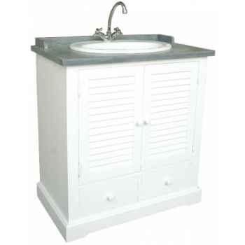 """Meuble de salle de bain \""""persienne\"""" simple sans vasque et sans robinet Antic Line -CD426"""