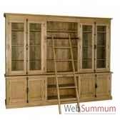 bibliotheque 4 portes 4 tiroirs niche cremones antic line cd566