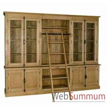 Bibliothèque 4 portes + 4 tiroirs niche crémones Antic Line -CD566