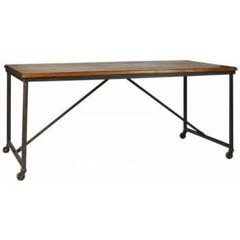 Table fer et bois ciré antique Antic Line -CD431