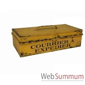 """Boîte jaune \""""courrier à expédier\"""" Antic Line -SEB13813"""