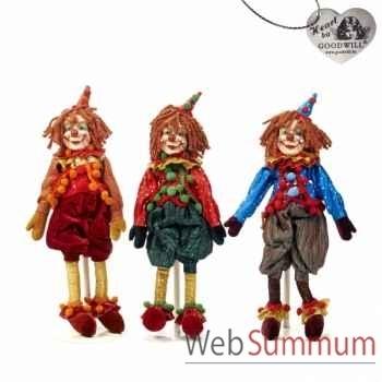 Lot de 3 poupée cown de cirque 33cm -C 12092