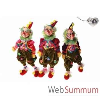 Lot de 3 poupée clown de cirque 35cm -C 10356