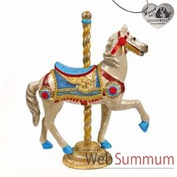 Caroussel cheval bleu 76cm -B 30059