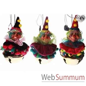 Lot de 3 clochette clown 14cm -C 10383