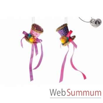 Lot de 2 décoration noël chapeau 9cm -B 31503