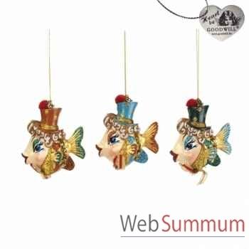 Lot de 3 décoration noël poisson 10cm -B 30054