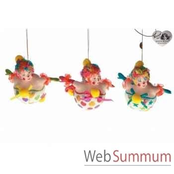 Lot de 3 décoration noël cirque 14cm -B 31501