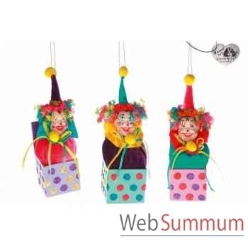 Décoration de noël clown lot de 3 20cm -B 31497