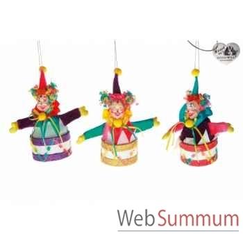 Lot de 3 décoration noël clown 17cm -B 31495
