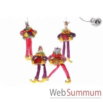 Lot de 4 décoration noël animaux cirque 13cm -B 31509